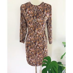 EUC Karen Zambos Tree Print Chiffon Shift Dress M